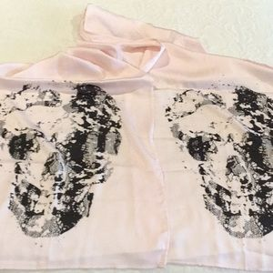 Pink Scarf with Skull Print